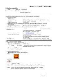 ODVITAL COSMETICS GMBH Sicherheitsdatenblatt