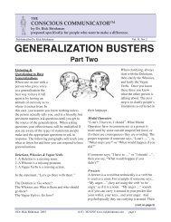Generalization Busters part 2 pdf - Dr. Rick Brinkman