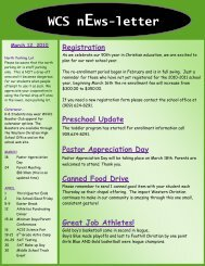 WCS nEws-letter - Western Christian Schools