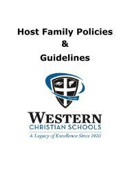 Host Family Policies & Guidelines - Western Christian Schools