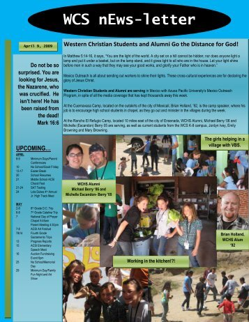 to download the WCS Claremont nEws - Western Christian Schools