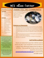 November 20, 2009 WCS nEws-letter - Western Christian Schools