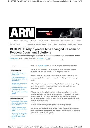 Why Kyocera Mita changed its name to Kyocera Document Solutions