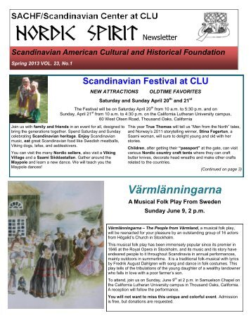 NORDIC SPIRIT Newsletter - Scandinavian American Cultural and ...