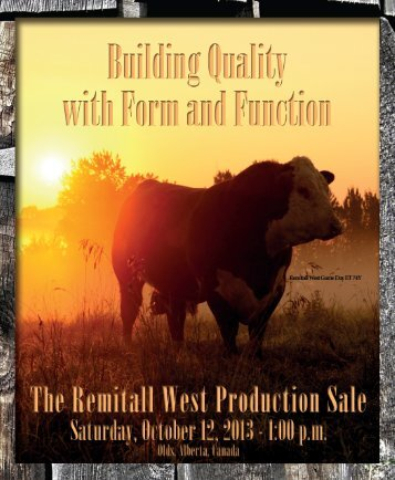 the Remitall West Production Sale Catalogue - Canadian Hereford ...