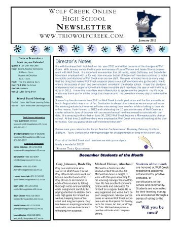 Term 2 (end) Newsletter - Wolf Creek Online High School
