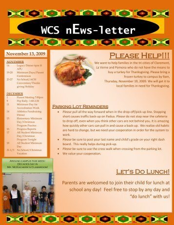 November 13, 2009 WCS nEws-letter - Western Christian Schools