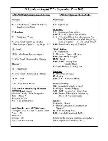 Schedule ~~ August 27 – September 1 ~~ 2013