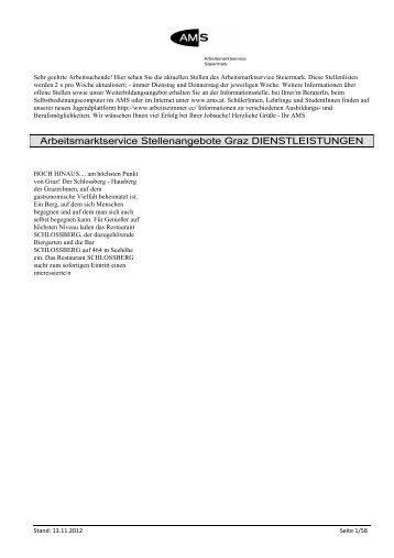 Arbeitsmarktservice Stellenangebote Graz DIENSTLEISTUNGEN