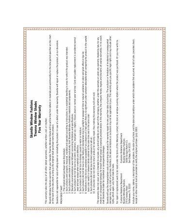warranties 2002 - Skandia Window Fashions