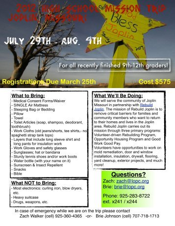 Registration Forms for the High School Mission Trip to ... - lopc youth