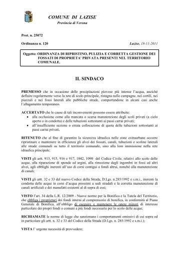 Ordinanza pulizia fossati privati - Comune di Lazise