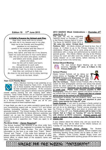 Newsletter Edition 19 2013 - St Edwards Primary School