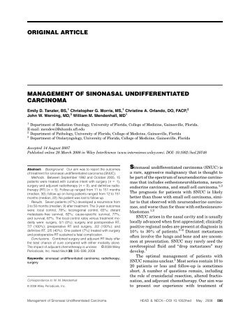 Management of sinonasal undifferentiated carcinoma