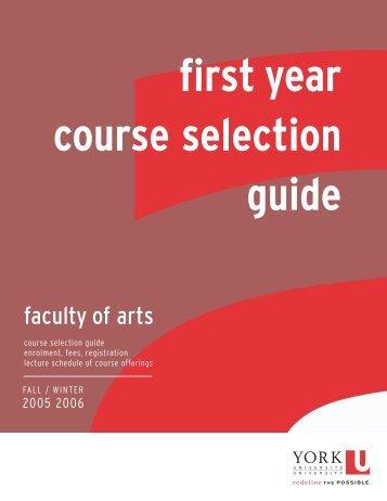 FYCSG 05/06 REV2 - Faculty of Arts - York University