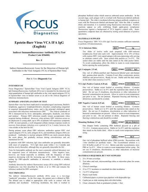 Epstein-Barr Virus VCA IFA IgG (English) - Focus Diagnostics