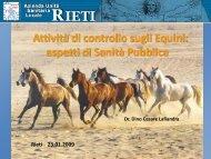 Attività di Controllo sugli Equini - Azienda USL Rieti