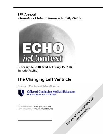 The Changing Left Ventricle - Echo in Context