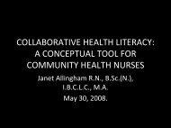 Collaborative Health Literacy: - Community Health Nurses Canada