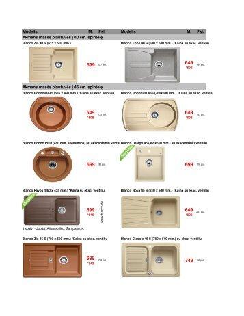Blanco rekomenduojamas mazmeninis kainynas 2011 - Vandeniai