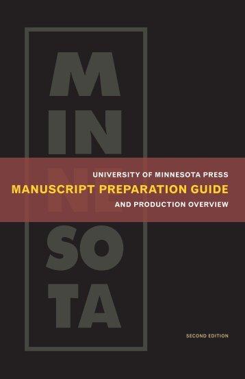 MANUScRIPT PREPARATION GUIDE - University of Minnesota Press