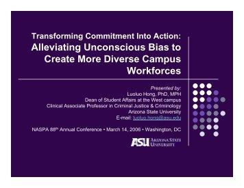Alleviating Unconscious Bias to Create More Diverse Campus ...