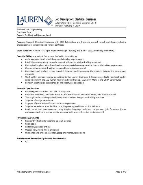 Job Description Electrical Designer Lauren Engineers