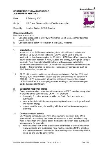 Agenda item 5 – UK Power Networks 7.2.13 - South East England ...