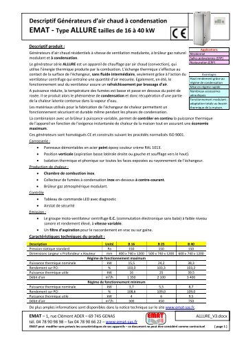 Descriptif Générateurs d'air chaud à condensation EMAT - Type ...