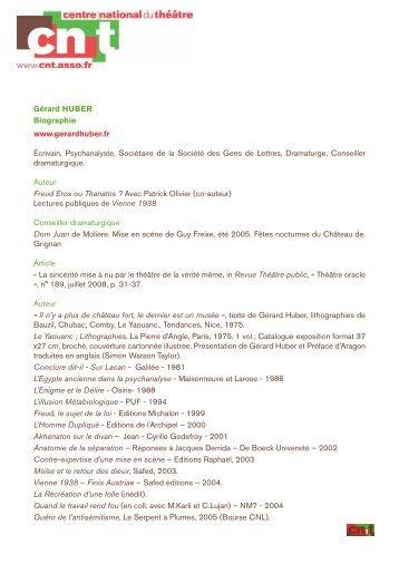 Téléchargez la biographie de Gérard Huber. - Centre national du ...