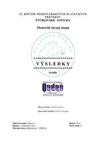 ŠTÚROVSKÉ STOVKY Memoriál Juraja Junga ... - uszoranglista.hu