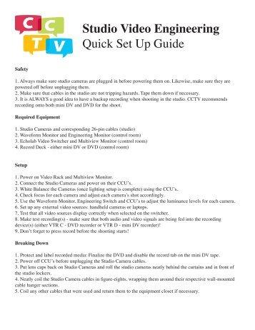 Studio Video Engineering Quick Set Up Guide