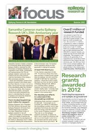 Donor Newsletter – Summer 2012 - Epilepsy Research UK