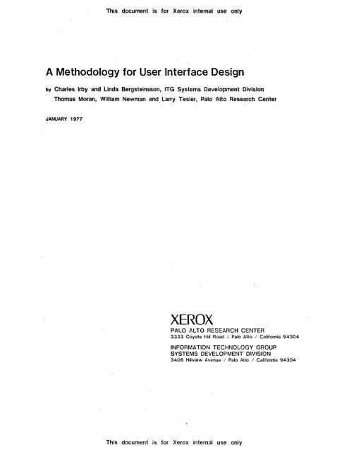 A Methodology For User Interface Design Index Of