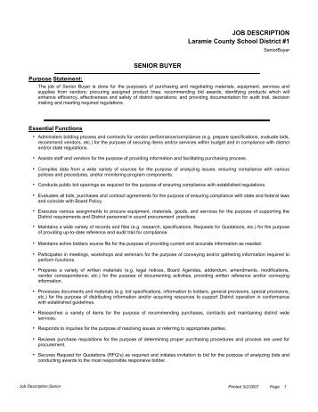 Buyer Job Description