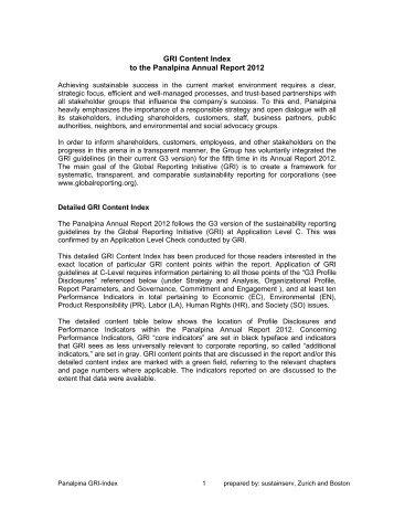 GRI index 2012 - Panalpina