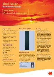 Shell Solar Produktinformation Shell ST40 Photovoltaik Solarmodul