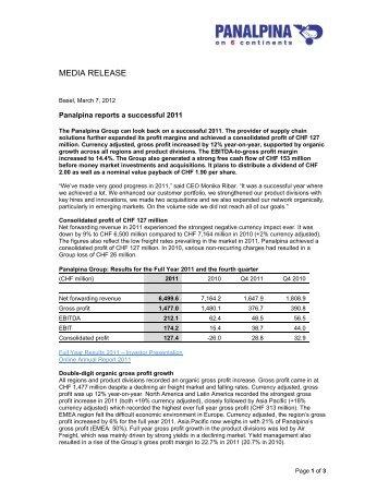 Media Release (PDF, 80KB) - Panalpina Annual Report 2012