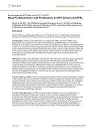 Medienmitteilung ETH-Rat vom 8. Juli 2011 / Professoren (PDF, 75 ...