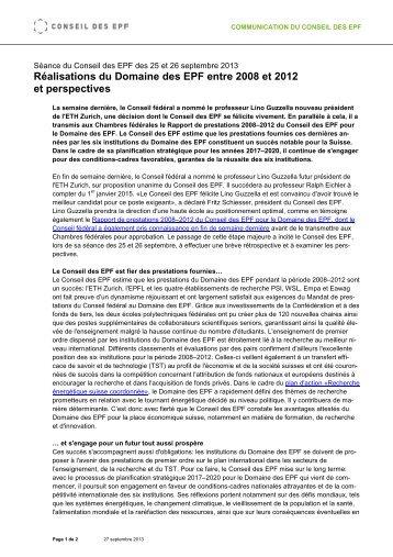 Communiqué de presse CEPF du 27 septembre 2013 (PDF, 32 Ko)
