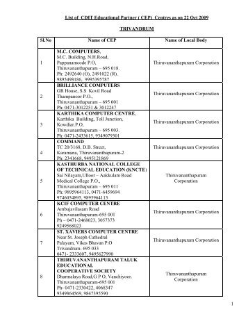 1 List of CDIT Educational Partner ( CEP) Centres as on 22 Oct 2009 ...