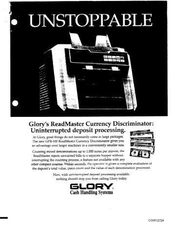 Glory GFR-100 Brochure
