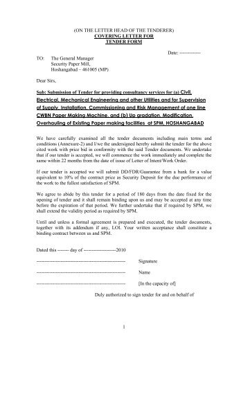 Tender Labor Cover Letter June 2021
