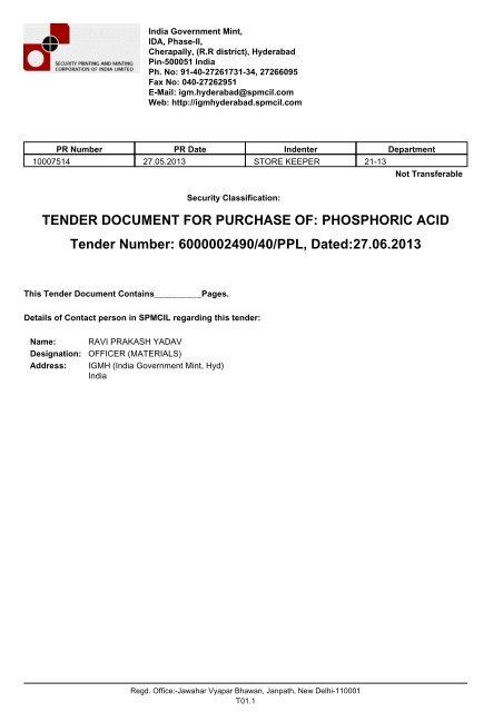 TENDER DOCUMENT FOR PURCHASE OF: PHOSPHORIC ACID