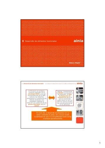 Desarrollo de alimentos funcionales - Ainia