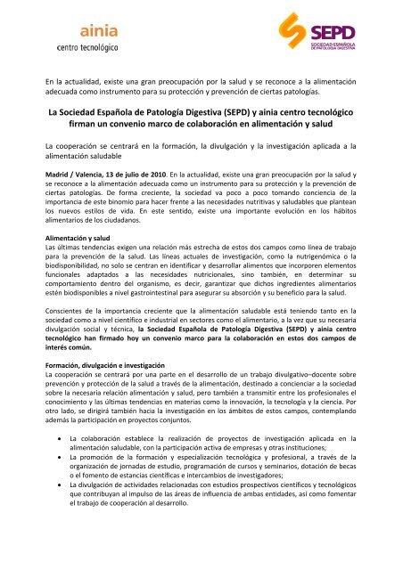 La Sociedad Española de Patología Digestiva (SEPD) y ainia centro ...