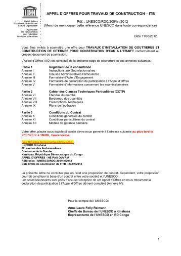 Appel d 39 offres pour travaux de construction itb - Appel de fonds pour travaux copropriete ...