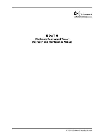 E DWT H Operation and Maintenance Manual