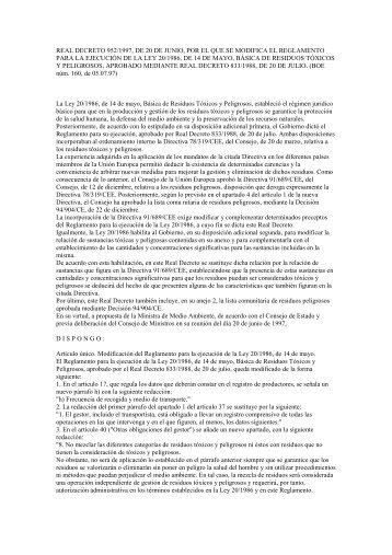 real decreto 952/1997, de 20 de junio, por el que se modifica ... - Ainia