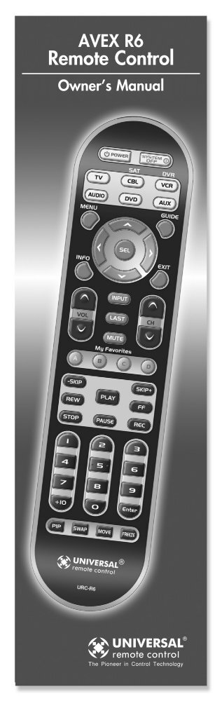 AVEX R6 Owner's Manual - Universal Remote Control